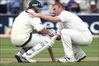 Freddie and Brett at the 2005 Ashes.